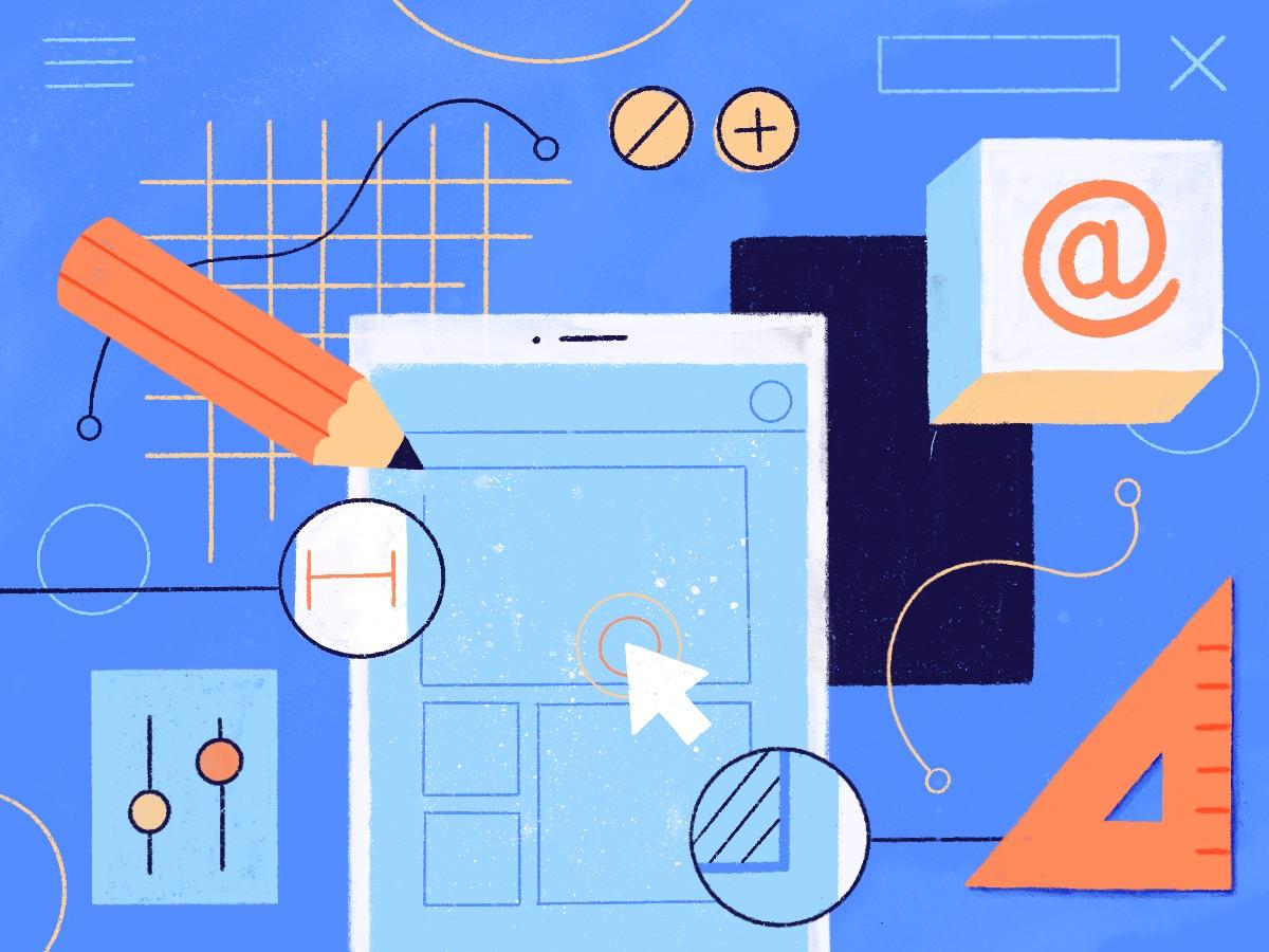 design graphique en cevennes - Illustration réalisée par Cleo Studio: elle illustre la construction du design de projets numériques (aussi appelé interface ou UI & UX design) tel que les site web ou applications mobiles