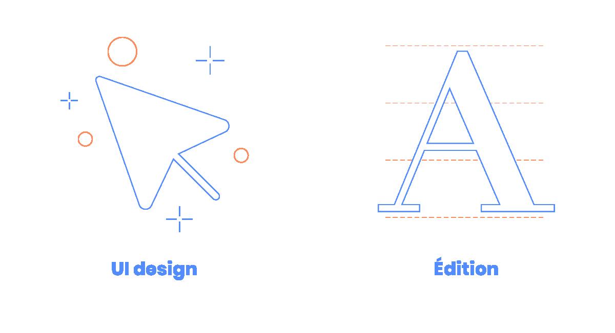 design graphique en cevennes - Picto ou icon représentant les expertises de Cleo studio : l'UI design et l'édition