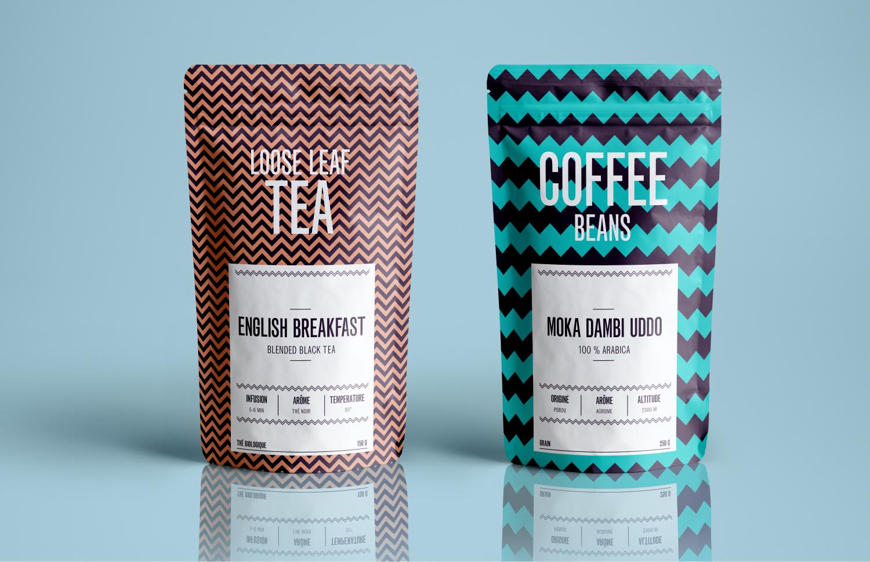 photo de packagings de thé et café réalisés par Cleo studio créatif de design graphique