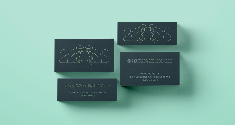 créations logo bar -carte de visite - identité graphique - deux singes - bar a cocktail - réalisé par cleo studio