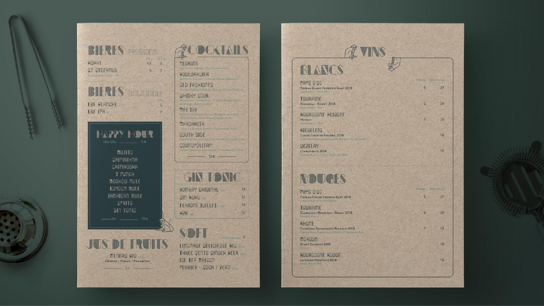 créations logo bar - identité graphique - carte, menu - deux singes - bar a cocktail - réalisé par cleo studio