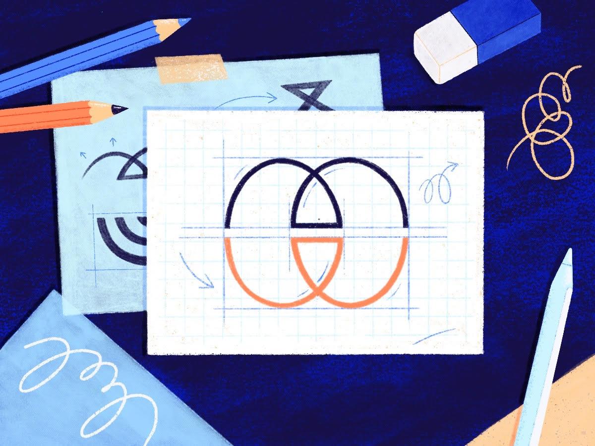 Design graphique cevennes - Illustration réalisée par Cleo Studio: elle illustre le processus de création d'un logo. Cette étape passe par la réalisation de croquis et d'esquisses. On y voit des crayons, une gomme, un stylet d'ipad et plusieurs feuilles de dessins avec des esquisses.